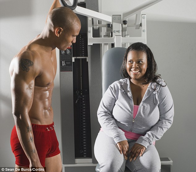 woman flirting with man in the gym